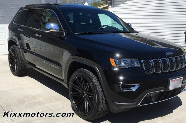 Jeep Grand Cherokee 22x10.5 XO Milan Black Concave Wheels Rims by Kixx Motorsports https://www.kixxmotorsports.com