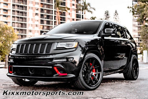 "Jeep Grand Cherokee with 22"" Black Concave Wheels Rims https://www.kixxmotorsports.com/products/22x10-5-ferrada-fr2-matte-black-w-gloss-black-lip-wheel"