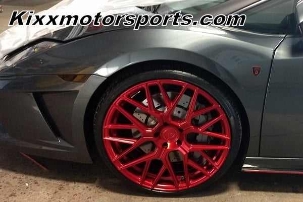 Lamborghini Gallardo with Rohana RFX10 Custom Candy Red Forged Wheels. By Kixx Motorsports https://www.kixxmotorsports.com