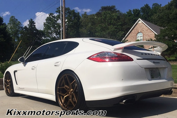 "Porsche Panamera GTS, 4, 4S with 22"" Rohana RFX11 Forged Staggered Bronze Concave Wheels Rims. By Kixx Motorsports https://www.kixxmotorsports.com"