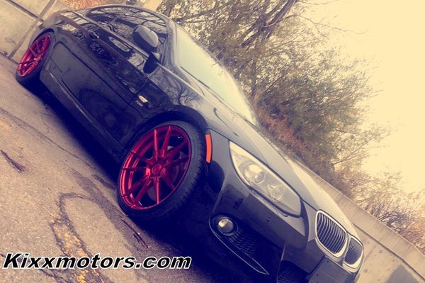 BMW 335 with 20x9 20x10 Rohana RF2 Forged Red Concave Wheels Rims by Kixx Motorsports https://www.kixxmotorsports.com