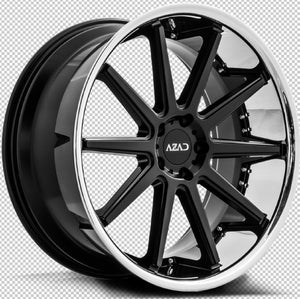 "22"" Azad AZ95 Black with Chrome staggered wheels by Kixx Motorsports https://www.kixxmotorsports.com 2"