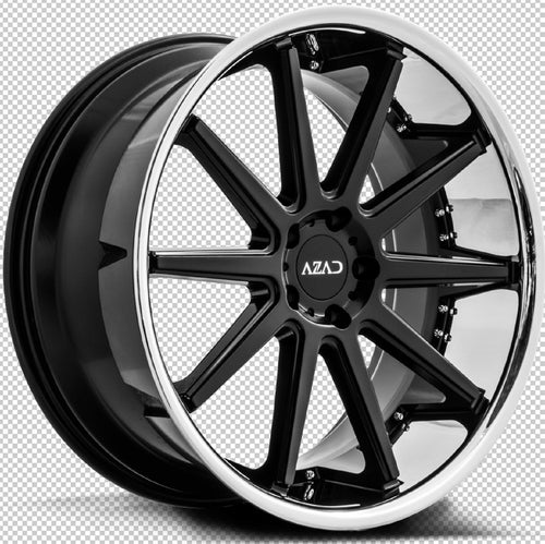 22x9 Azad AZ95 Black w/Chrome Lip concave wheels rims rims by Kixx Motorsports https://www.kixxmotorsports.com 5