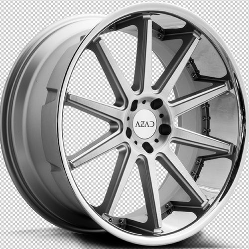 22x9 Azad AZ95 Brush Silver w/Chrome Lip concave wheels rims rims by Kixx Motorsports https://www.kixxmotorsports.com 9