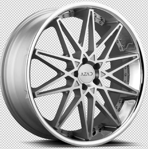 22x9 Azad AZ41 Machine Silver w/Chrome Lip Wheel