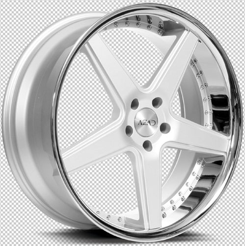 22x9 Azad AZ008 Silver /Chrome Lip concave wheels rims by Kixx Motorsports https://www.kixxmotorsports.com 3.1