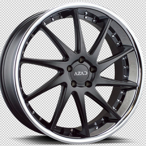 20x9 Azad AZ23 Matte Black w/Chrome Lip concave wheels rims rims by Kixx Motorsports https://www.kixxmotorsports.com W