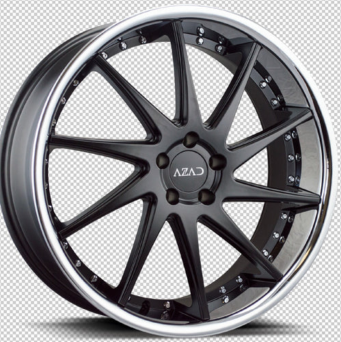 22x9 Azad AZ23 Matte Black w/Chrome Lip concave wheels rims rims by Kixx Motorsports https://www.kixxmotorsports.com 9