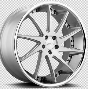 22x9 Azad AZ23 Brushed Silver w/Chrome Lip concave wheels rims rims by Kixx Motorsports https://www.kixxmotorsports.com