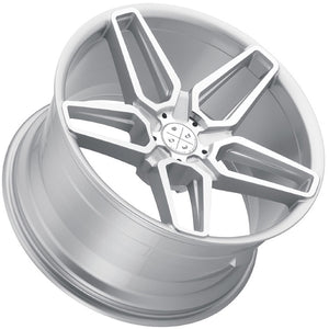 "20"" Blaque Diamond BD-17-5 Machine Silver concave staggered wheels by Kixx Motorsports https://www.kixxmotorsports.com 5"