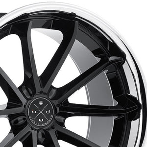 "20"" Blaque Diamond BD23 Black Concave wheels rims by KIXX Motorsports. https://www.kixxmotorsports.com/products/20-full-staggered-set-blaque-diamond-bd-23-20x9-20x11-gloss-black-w-chrome-lip-wheels"