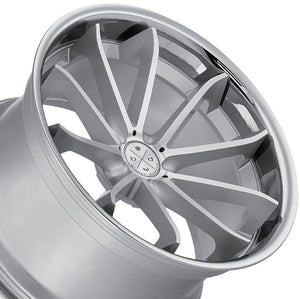 "22"" Blaque Diamond BD23 Silver Concave wheels rims by Authorized Dealer KIXX Motorsports https://www.kixxmotorsports.com/products/22x10-5-blaque-diamond-bd-23-silver-w-chrome-lip-wheel"