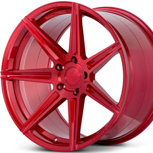 Ferrada F8-FR7 Brushed Rouge concave staggered wheels custom red rims for Dodge Challenger, Charger. By Kixx Motorsports