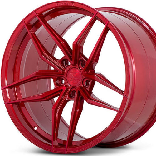 20 inch Ferrada F8-FR5 Red Brushed Rouge concave staggered wheels rims. By authorized dealer Kixx Motorsports https://www.kixxmotorsports.com