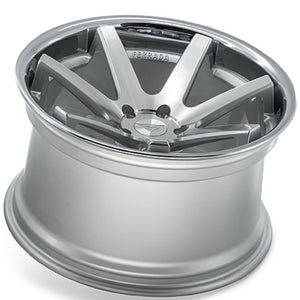 "22"" Ferrada FR1 Silver concave wheels rims by Authorized Dealer KIXX Motorsports https://www.kixxmotorsports.com/products/22-full-staggered-set-ferrada-fr1-22x9-22x10-5-machine-silver-w-chrome-lip-wheels"