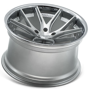 Silver concave wheels by Authorized Dealer KIXX Motorsports https://www.kixxmotorsports.com/products/20-full-staggered-set-ferrada-fr2-20x9-20x10-5-machine-silver-w-chrome-lip-wheels