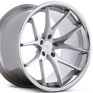 "22"" Ferrada FR2 Silver concave wheels by Authorized Ferrada Dealer https://www.kixxmotorsports.com/products/22x9-5-ferrada-fr2-machine-silver-w-chrome-lip-wheel"