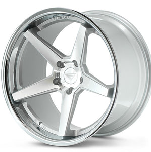 "19"" (Full Staggered Set) Ferrada FR3 19x8.5 19x10.5 Machine Silver w/ Chrome Lip Wheels"