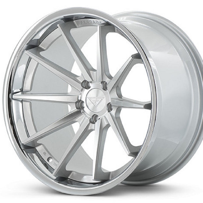 Silver Concave wheels rims by KIXX Motorsports https://www.kixxmotorsports.com/products/19-full-staggered-set-ferrada-fr4-19x8-5-19x9-5-machine-silver-w-chrome-lip-wheels