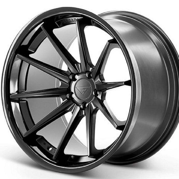 22x9.5 Ferrada FR4 Black concave wheels rims by Authroized Ferrada Wheel Dealer Kixx Motorsports https://www.kixxmotorsports.com/products/22x9-5-ferrada-fr4-matte-black-w-gloss-black-lip-wheel
