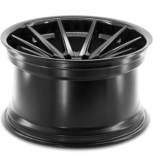 "22"" Ferrada FR4 Black concave wheels rims by Authorized Ferrada Wheel Dealer KIXX Motorsports https://www.kixxmotorsports.com/products/22x10-5-ferrada-fr4-matte-black-w-gloss-black-lip-wheel"
