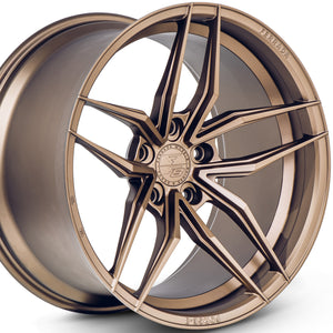 "20"" Bronze concave wheels by KIXX Motorsports https://www.kixxmotorsports.com/products/20-full-staggered-set-ferrada-f8-fr5-20x10-20x11-5-matte-bronze-forged-wheels"