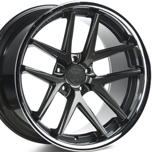 "22"" (Full Staggered) Rohana RC9 22x9 22x10.5 Gloss Graphite w/Chrome Lip Concave Wheels"