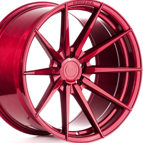 Staggered Rohana RF1 Gloss Red Concave Rotary Forged Wheels are on Sale by Authorized Dealer KIXX Motorsports https://www.kixxmotorsports.com/products/20-full-staggered-set-rohana-rf1-20x10-20x12-gloss-red-wheels-rotory-forged