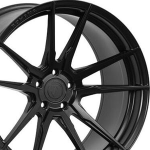 "19"" Rohana RF2 Matte Black Concave Wheels by Authorized Dealer KIXX Motorsports https://www.kixxmotorsports.com/products/19-full-staggered-set-rohana-rf2-19x8-5-19x11-matte-black-forged-concave-wheels"