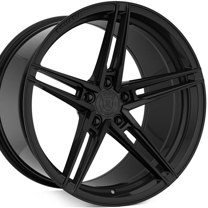 20 Rohana RFX15 Gloss Black concave wheels forged staggered rims. By Kixx Motorsports https://www.kixxmotorsports.com