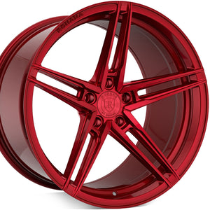 Rohana RFX15 Gloss Red concave staggered wheels forged rims. By Kixx Motorsports https://www.kixxmotorsports.com