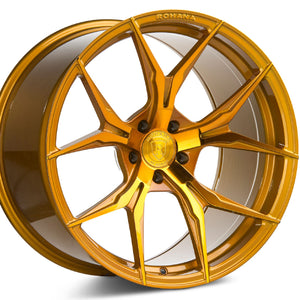 "20"" (Full Staggered Set) Rohana RFX5 20x9 20x12 Gloss Gold Wheels (Rotary Forged)"