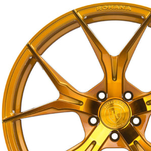 19/20 (Full Staggered Set) Rohana RFX5 19x9.5 20x12 Gold Wheels (Rotary Forged)
