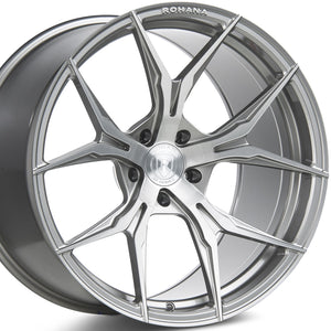 20x8.5 20x10 Rohana RFX5 Brushed Titanium Forged Concave Wheels Rims are on Sale at KIXX Motorsports https://www.kixxmotorsports.com/products/20-full-staggered-set-rohana-rfx5-20x8-5-20x10-brushed-titanium-wheels-rotary-forged