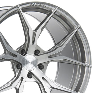 "19"" Rohana RFX5 Titanium/Silver Concave Forged Wheels by Authorized Dealer KIXX Motorsports https://www.kixxmotorsports.com/products/19-full-staggered-set-rohana-rfx5-19x8-5-19x11-brushed-titanium-wheels-rotory-forged"