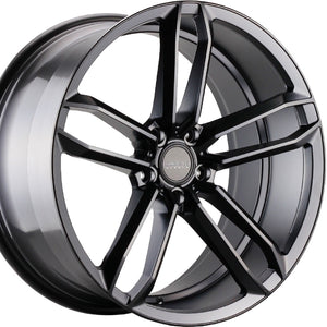 "20"" Varro VD07 Black concave staggered wheels rims by https://www.kixxmotorsports.com 3"