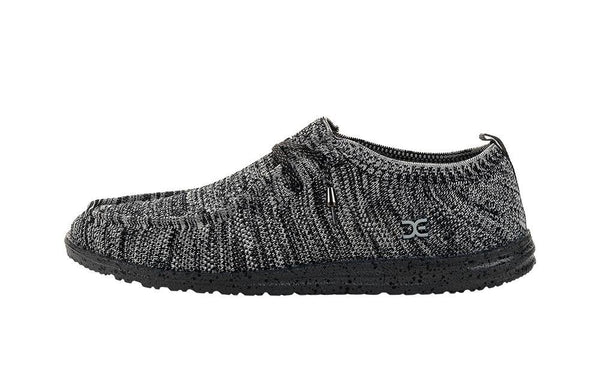 Hey Dude Men's Wally Knit Loafers Black White