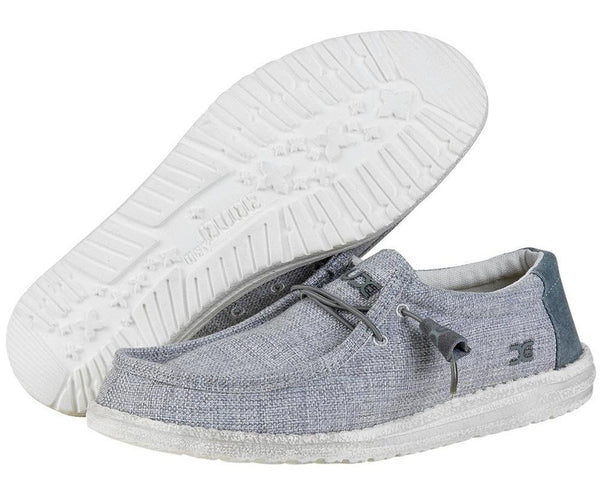 Hey Dude Men's Wally Woven, Textile, Memory Foam Loafers Grey White