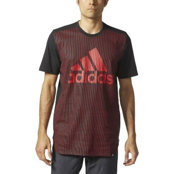 adidas Men's Athletics Graphic Tee, Black/Light Scarlet/Pinstripe, Large