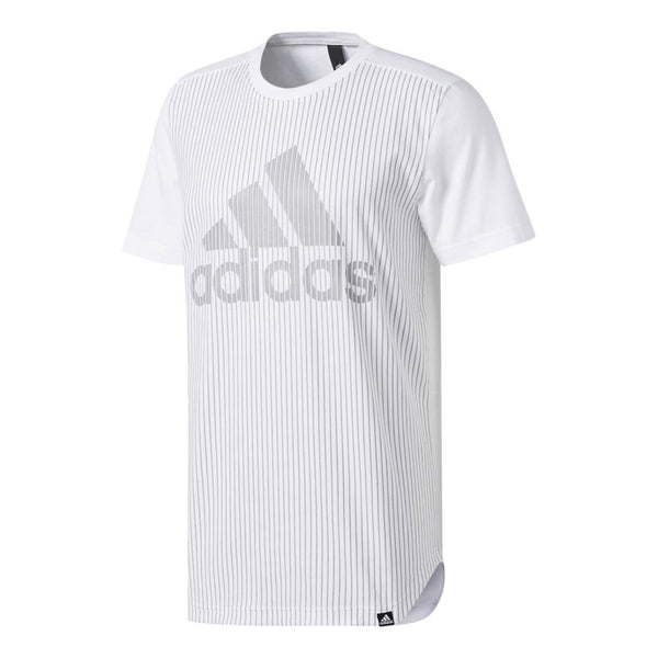 adidas Men's Athletics Graphic Tee, White/Aluminum/Pinstripe, Medium