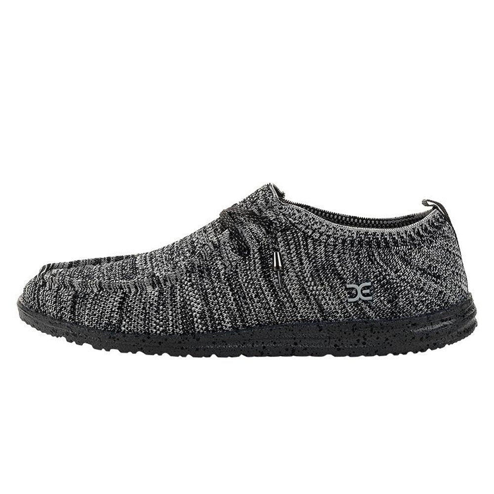 Hey Dude Wally Knit Black White Loafer Shoes Black White