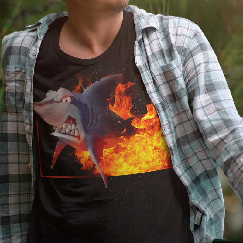 T shirt Poker Shark Fire Noir