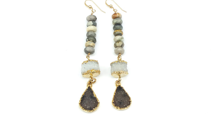 Jasper and Druzy Earrings