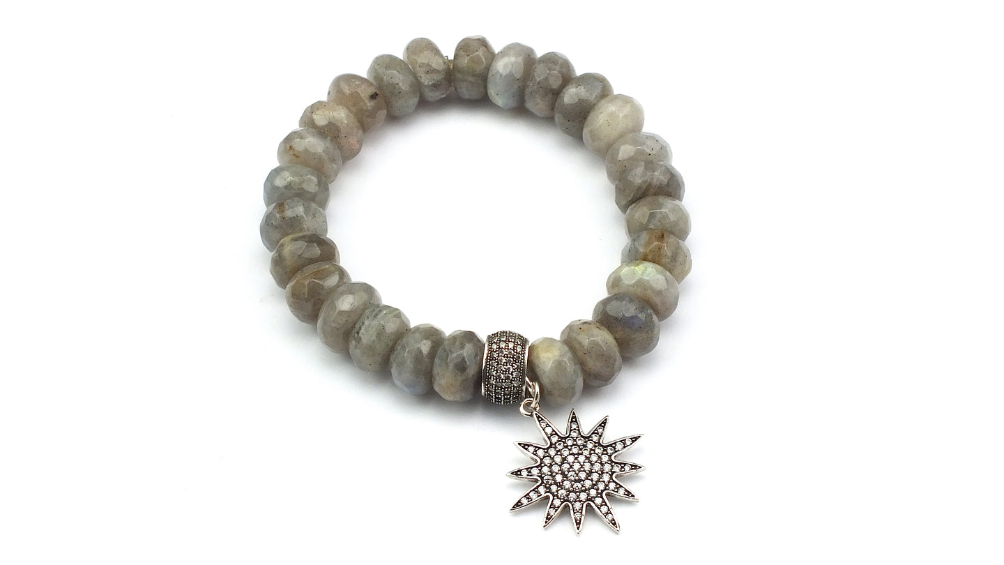 Faceted Labradorite Rondelles with Cube Shaped CZ Bead & Pave Star Charm - Silver