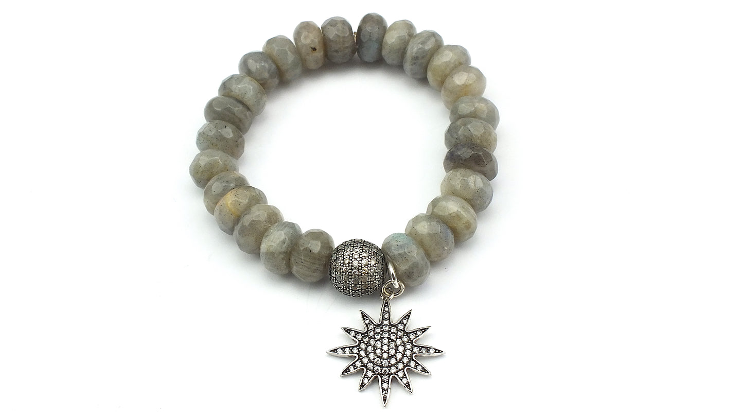 Faceted Labradorite Rondelles with Oval Shaped CZ Bead and Pave Star Charm - Silver