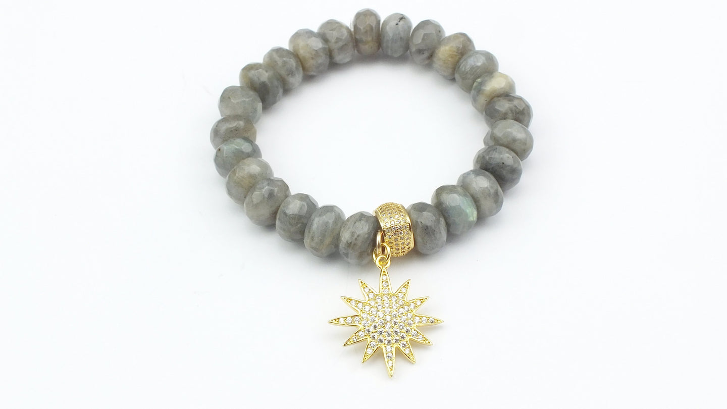 Faceted Labradorite Rondelles with Cube Shaped CZ Bead & Pave Star Charm - Gold