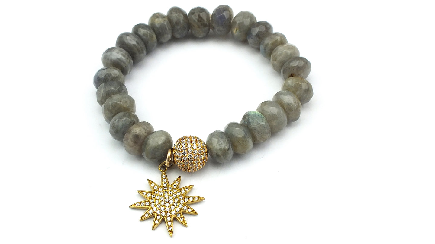Faceted Labradorite Rondelles with Oval Shaped CZ Bead and Pave Star Charm - Gold