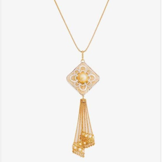 Single Twirl Yellow Pearl Pendant - K.D. Jewelry Sf