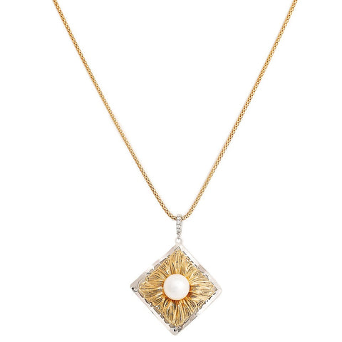 Square Pearl and Diamond Pendant with Adjustable Chain