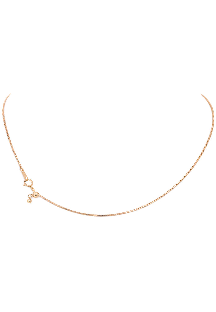 18K Yellow Gold Adjustable Thin (0.90 MM) Box Chain - K.D. Jewelry Sf